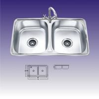 China Double Rectangular Bowl Undermount Stainless Steel Kitchen Sinks With Faucet wholesale