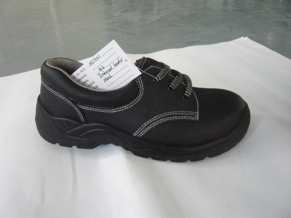 Quality safety shoes embossed leather  black dual density PU injection for sale