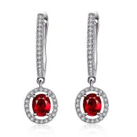 Long Ruby Earrings White Gold18k , Pear Shaped Ruby Earrings With Diamond Accents