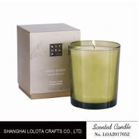 China Handmade Scented Soy Candles , Long Lasting Scented Candles In Green Clear Bottle wholesale