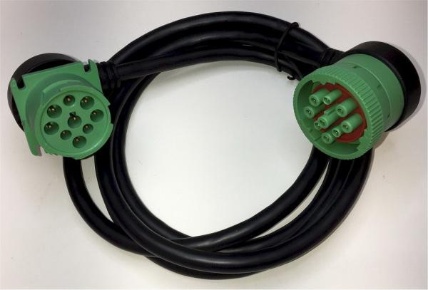 Quality Right Angle Green Deutsch 9 Pin J1939 Female to Right Angle J1939 Male Cable for sale