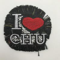 China OEM Logo Bling Iron On Patches One Side Design With Black Base Color wholesale