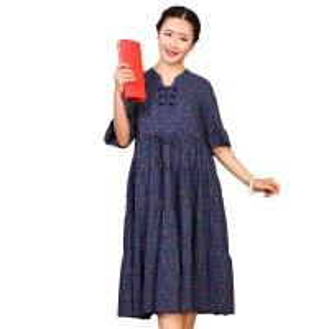 Custom Long Cotton Summer Dresses O Neck With Knee - Length Dresses Length