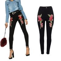 Embroidery Dark Black Ladies Jeans Pant High Rise Jeans For Women