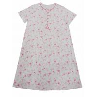 China Cotton Pajama Dress Women'S Plus Size Nightgowns With Pink Piping Button Placket Satin Bows on sale