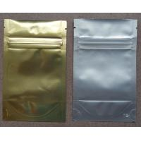 China Aluminum Foil Zip Lock Bag Plastic Seeds Packaging , Golden / Silver wholesale