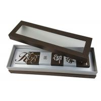 China PVC Transparent Lid Brown Color Cardboard Material Bottom Logo Color  Printing  Box for 6 pieces  Chocolate Packing wholesale