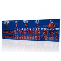 China Professional LED Baseball Scoreboard With Blue Frame Cabinet 1400mm*3800mm*100mm wholesale