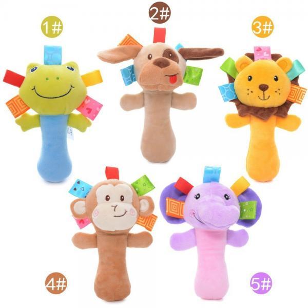 Plush dog frog monkey baby rattles toys for kids infant
