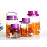China Large Food Glass Storage Jars Wide Mouth Neck With Purple Lid Faucet 4L 30L on sale