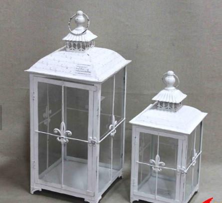 Quality Vintage Indoor White Lantern Garden Light Wedding Candle Lantern Decoration Yard Standard Lamp Glass Path Lighting for sale