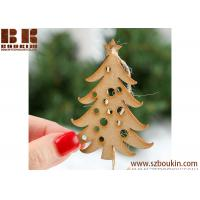 China Unfinished Wood Laser Cut Christmas Tree Ornaments Artificial wood 3d christmas tree ornaments on sale