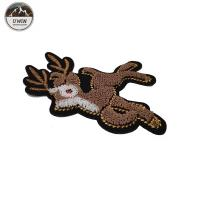 China Fawn Animal 3D Embroidery Patches For Garment /  Bags / Hats Decoration wholesale