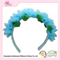 China Girls Baby Flower Headbands With Special Chiffon Flowers / Blue Chiffon Flowers Hair Band wholesale