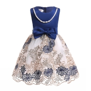 China O-Neck Satin Girl Dress Embroidered Mesh Dress Dark Blue Pearl Necklace Dresses Disfraz Rapunzel Niña Enfant Girls Winte wholesale