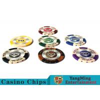 China 14g Custom Clay Poker Chips With Mette Sticker 3.4mm Thickness wholesale