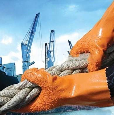 Quality Anti Slip Industry Safety Working Gloves Orange With PVC Coated for sale