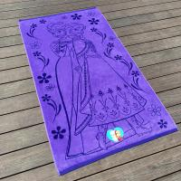 China Funky Jacquard Purple Beach Pool Towels Cartoon Printed For Camping wholesale