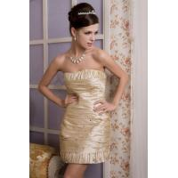 China Champagne Taffeta Women Tight Plus Size Cocktail Party Dresses Strapless A Line Gowns wholesale