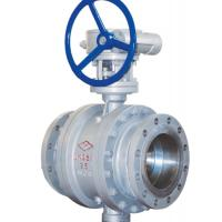 China 3 Way Cast Steel Ball Valve / 4 Inch Flanged Ball Valve PN 25 Worm Gear wholesale