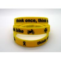 China Ink Filled Promotional Printed Silicone Wristbands With Debossed Logo , CE Specification wholesale