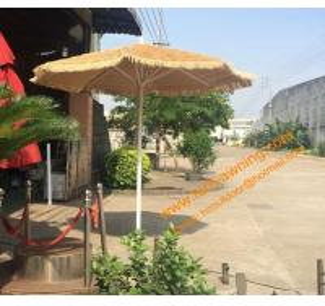 China Outdoor Sunshade Aluminum Pole Grass Parasol  Hawaii Umbrella Waterproof Straw Beach Umbrella wholesale