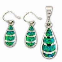 China Fashionable 925 Sterling Silver Jewelry Set with Opal, OEM and ODM Orders are Welcome wholesale