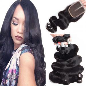 Buy cheap Armure péruvienne de cheveux de Vierge d'armure de fermeture lâche de dentelle avec la fermeture 4X4 from wholesalers