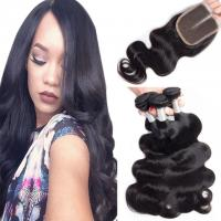 Loose Weave Lace Closure Peruvian Virgin Human Hair Weave With Closure 4X4