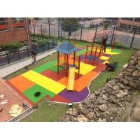 China Colored EPDM Floor Tile / Rubber Playground Tiles with Custom Size wholesale