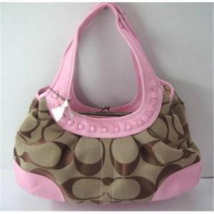 China Coach handbag hobo bag shoulder bag pink canvas with leather on sale