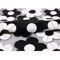 China Customization Embroidery PU Mesh Lace Fabric With Black And White Flower wholesale