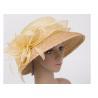 57cm Light Yellow Womens Church Hats With 9cm Down Straw Braid Sewing Brim