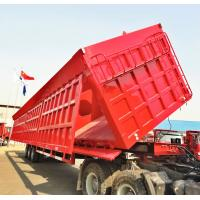 China 60 Tons Dump Truck Trailer 3 Axles Side Hydraulic Lifting For Carry Gravel wholesale
