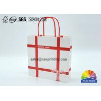 China Personalized Recyclable White Custom Paper Shopping Bags With Red Rope Handle​ wholesale