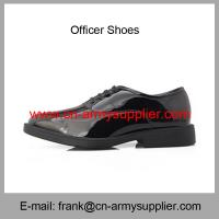 China Wholesale Cheap China Black Shining PU leather Military Officer Shoes wholesale