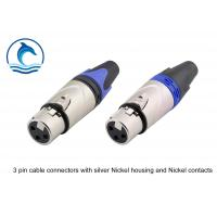 China Satin Silver Housing XLR Audio Female Connector / LC3FX Trs Audio Connector wholesale