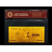 China US $100000 gold dollar bill gold with PVC frame COA , Gold plated banknote gift wholesale