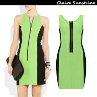 New Vestido Black&green Patchwork Bandage Dress High For Party And Celebrity Rayon O-neck
