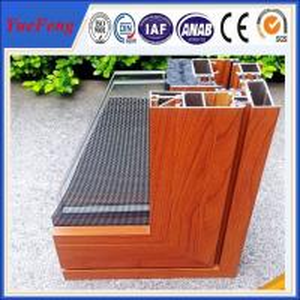 China wood finished aluminum extrusion profiles, aluminum window frames price per ton on sale
