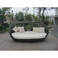 China UV Resistant Outdoor Rattan Daybed , Dark Brown Wicker Oval Bed wholesale