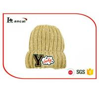 Buy cheap Leisure young  Winter Knit Hats With Patch Embroidered,Add  White Wool from wholesalers