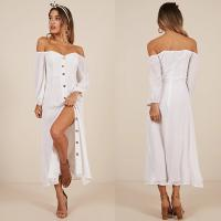 China Women Clothing Long Sleeve Sorrento Dreaming Dress In White Linen Look on sale