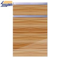 China Replacement High Gloss Kitchen Cabinets Doors Vinyl Pressed MDF Panels wholesale