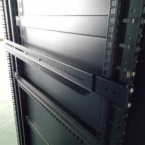Quality 1U Adjustable 4-Post Rack Mount Server Shelf Rails Full Depth Set Black for sale