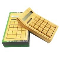 China Hot Sale Eco-friendly bamboo products 12 Digits Solar Bamboo Calculator wholesale