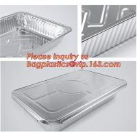 China Silver Foil Rectangular Takeout Container with paper lid,Kitchen Use Aluminum Foil Container,700ml food storage containe wholesale