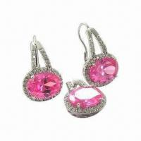 China 925 Sterling Solid Silver Earrings with CZ Cubic Zirconia's and Crystal wholesale