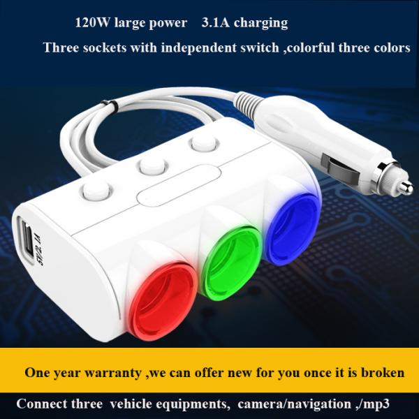 Quality Car Dual USB 2.1A 1A car Cigarette lighter socket Power Supply car Charger Adapter Outlet Auto Socket for sale