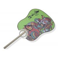 China Palm Leaf Hand Held Paper Fans Chinese Tradition Guan Gong Pattern Eco - Friendly wholesale